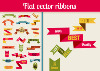 Flat Vector Retro Ribbons Vector packs ribbon