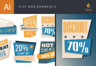 Flat Web Banners Set 5 Vector packs flat