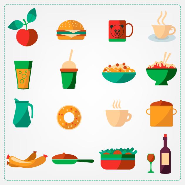 Flat Food Icons Set 5 designtnt flat food icons set 5 vector large