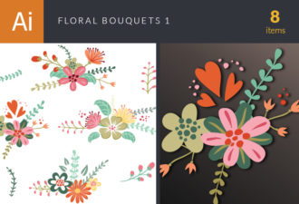 Floral Bouquets Vector Set 1 Vector packs nature