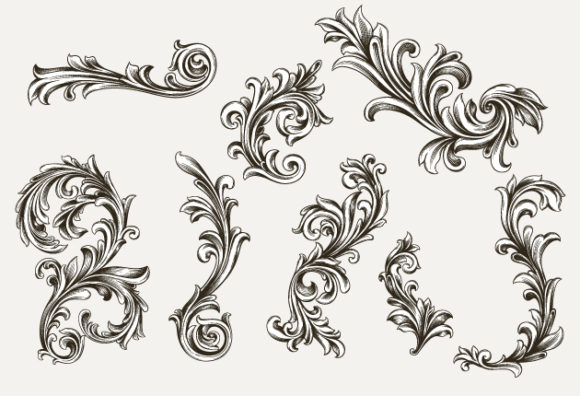 Floral Engraved Vector Vector packs decorative