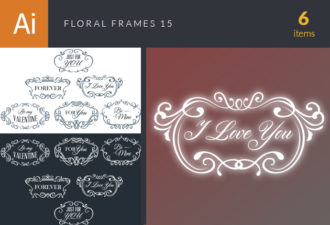Floral Frames Vector Set 15 Vector packs vintage