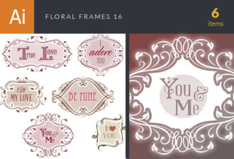 Floral Frames Vector Set 16 Vector packs vintage