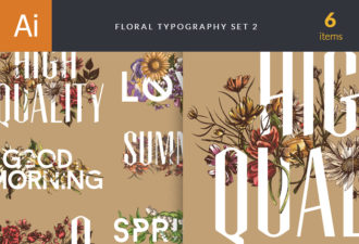 Floral Typography Vector Vector packs floral