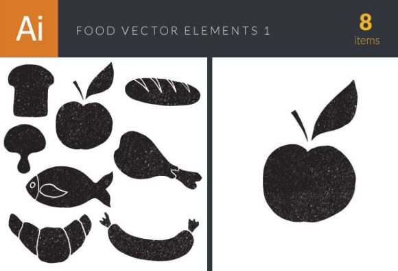 Food Elements Set 1 designtnt food elements set 1 vector small