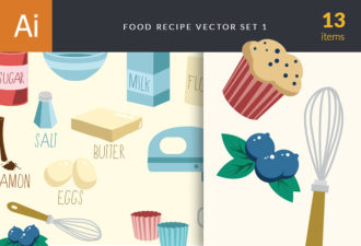 Food Recipe Vector Set 1 Vector packs eggs