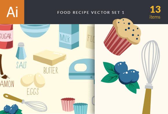 Food Recipe Vector Set 1 Vector packs eggs