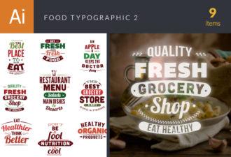 Food Typography Set Vector packs food