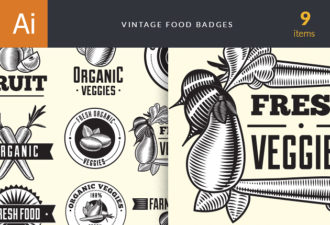 Food Vintage Badges Set 4 Vector packs vintage