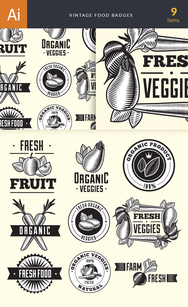 Food Vintage Badges Set 4 6