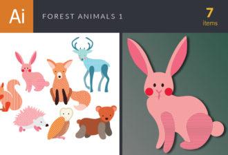 Forest Animals Vector Set 1 Vector packs rabbit