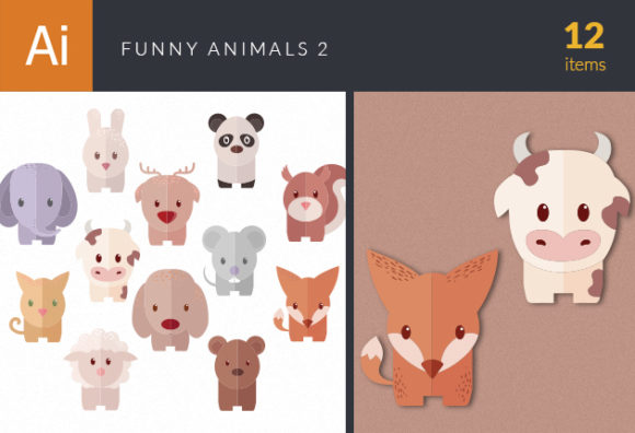Funny Animals Vector Set 2 designtnt funny animals vector set 2 vector small
