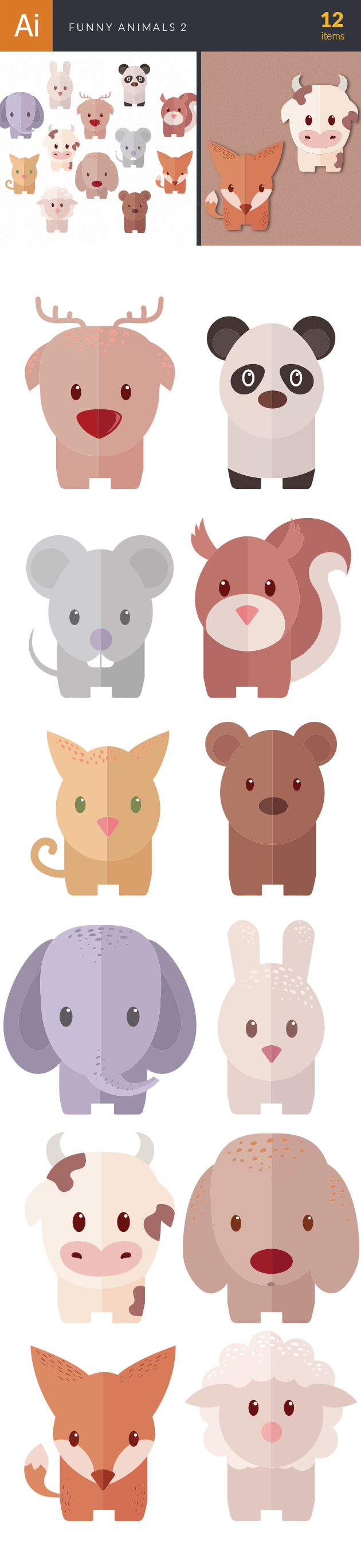 Funny Animals Vector Set 2 designtnt funny animals vector set 2 vector large