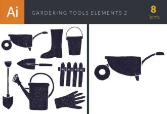 Gardening Tools Vector Elements Set 2 Vector packs glove