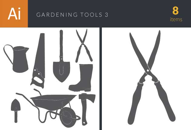 Gardening Tools Vintage Vector Set 3 Vector packs axe