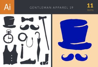Gentleman Apparel Set 19 Vector packs umbrella