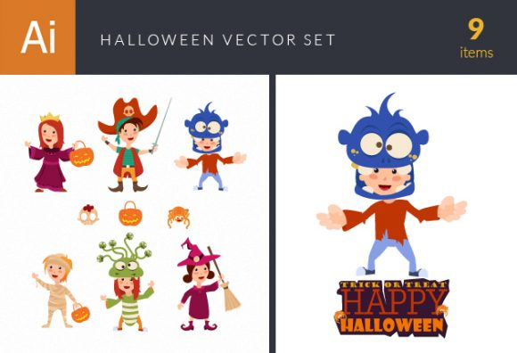Halloween Kids Vector Set 1 Vector packs mask