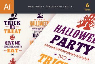 Halloween Typography Set 1 Vector packs halloween