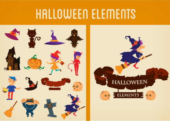 Halloween Vector Elements Set 2 Vector packs scroll