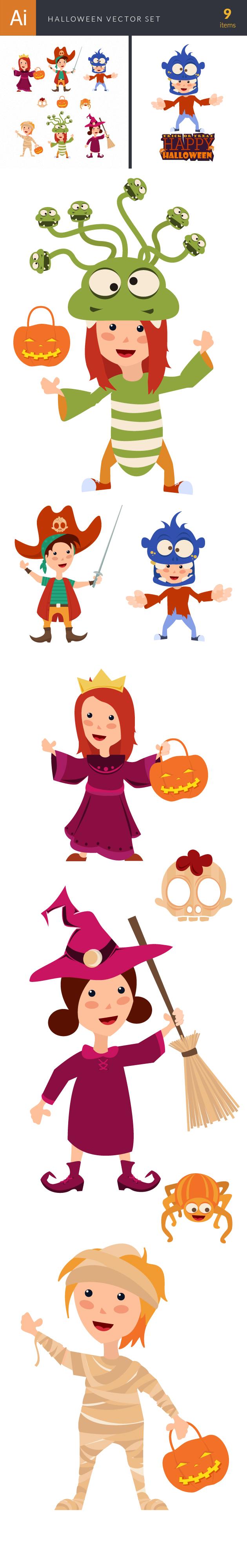 Halloween Kids Vector Set 1 2