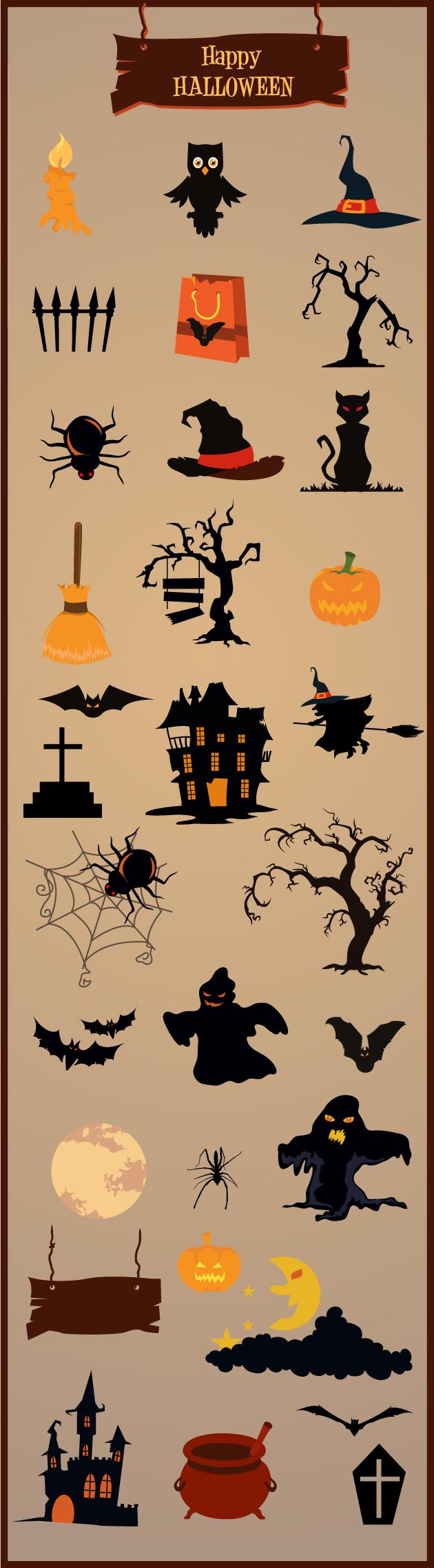 Halloween Vector Elements Set 1 designtnt halloween vector elements set 1 vector large