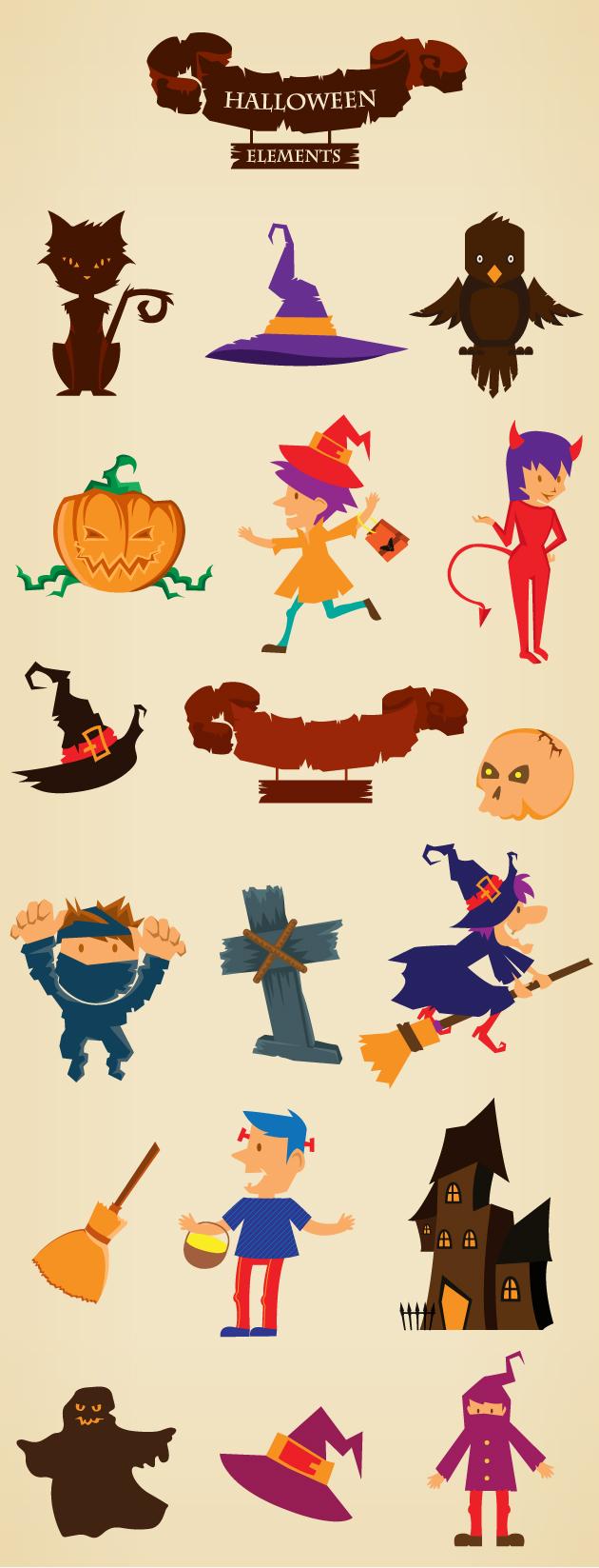 Halloween Vector Elements Set 2 designtnt halloween vector elements set 2 vector large