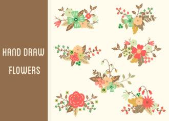 Hand-Drawn Flowers Set 2 Vector packs nature