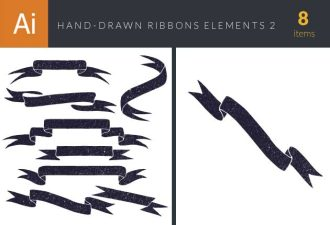 Hand-Drawn Ribbons Vector Set 2 Vector packs ribbon