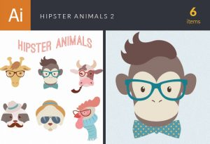 Hipster Animals Vector Set 2 Vector packs dog