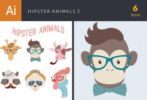 Hipster Animals Vector Set 2 designtnt hipster animals vector set 2 vector small