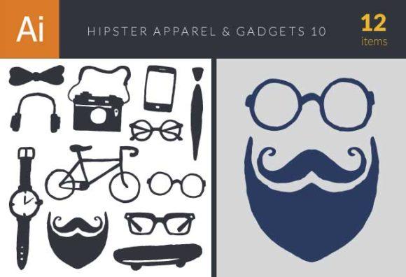 Hipster Apparel & Gadget Set 10 Vector packs bow