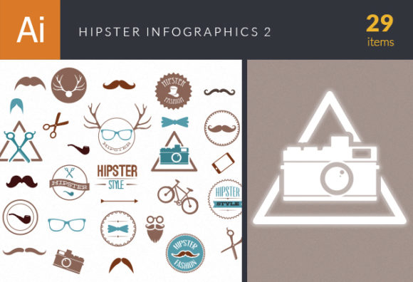 Hipster Infographics Vector Set 2 Infographics ribbon