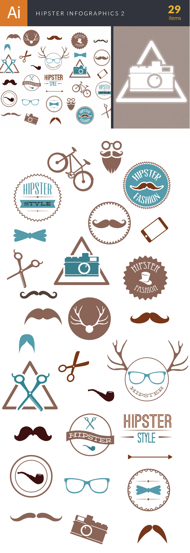 Hipster Infographics Vector Set 2 2