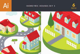 Isometric Houses Vector Vector packs tree