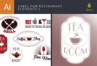 Label Set For Restaurant Vector Set 1 Vector packs wine
