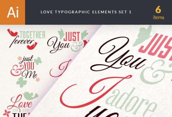 Love Typography Elements Set 1 Vector packs LOVE