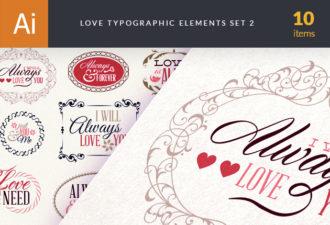 Love Typography Elements Set 2 Vector packs vintage