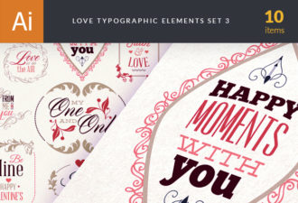 Love Typography Set 2 Vector packs vintage