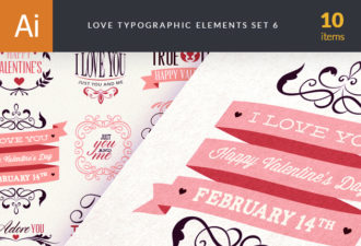 Love Typography Set 5 Vector packs vintage