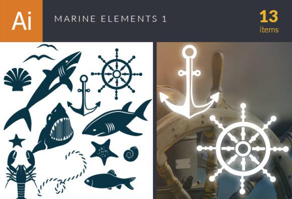 Marine Icons Vector Set 1 designtnt marine icons vector set 1 vector small