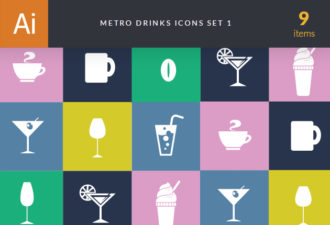 Metro Drinks Icons 1 Vector packs glass