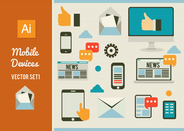 Mobile Devices Set 1 Vector packs hand