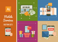 Mobile Services Set 1 Vector packs flat