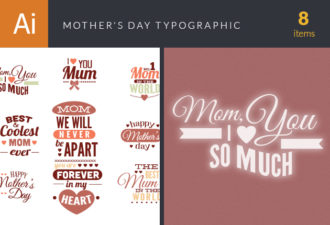 Mother's Day Typographic Elements Vector packs flat