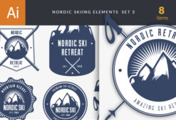 Nordic Skiing Elements Vector Set 3 Vector packs [tag]