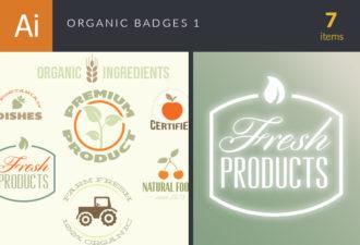 Organic Badges Vector Set 1 Vector packs flat