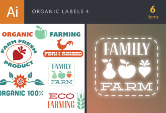 Organic Labels Set 4 Vector packs flat