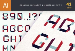 Origami Alphabet Letters And Numbers Vector packs retro