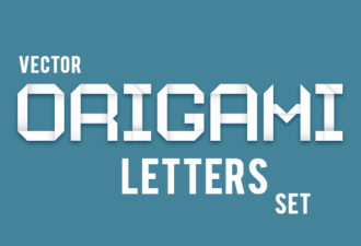 Origami Alphabet Letters And Numbers Vector packs abstract