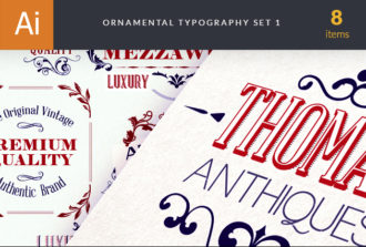 Ornamental Typography 1 Vector Vector packs floral